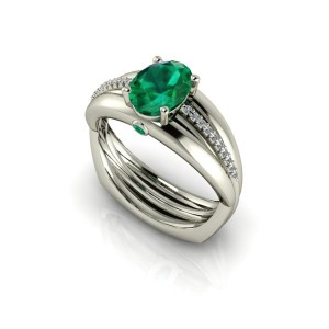 14K White Gold Oval Emerald & Diamond Fashion Ring