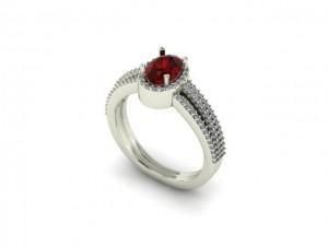 14K White Gold Ruby & Diamond Fashion Ring