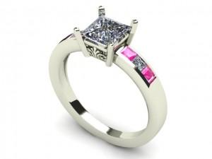 14K White Gold Princess Cut Diamond & Pink Sapphire Engagement Ring
