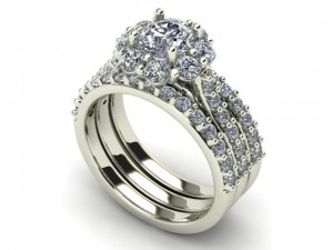 14K White Gold Ladies Diamond Wedding Set