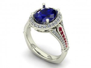 14K White Gold Ladies KU Jay Hawk Ring