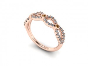 14K Rose Gold Chocolate & White Diamond Wedding Band