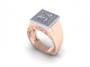14K Rose Gold Mens Diamond Fashion Ring