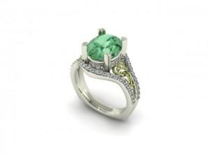 14K White & Green Gold Green Amethyst Ring