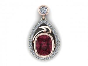 14K White & Rose Gold Garnet and Diamond Pendant