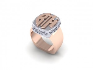 14K Rose Gold Mens Signet Ring