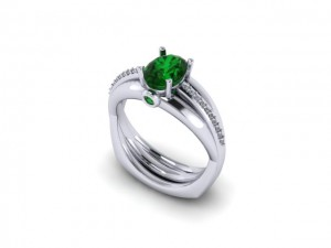14K White Gold Ladies Emerald & Diamond Fashion Ring