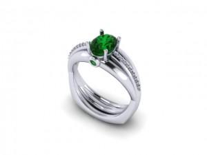 14K White Gold Ladies Emerald & Diamond Fashion Ring