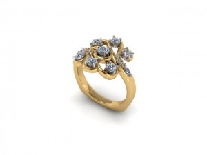 14K Yellow Gold Ladies Diamond Fashion Ring