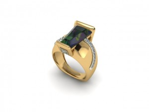 14K Yellow Gold Ladies Tourmaline & Diamond Ring